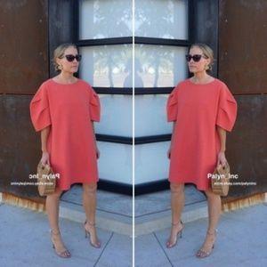 NWT Zara Coral Puff Sleeve Oversize Sweater Dress